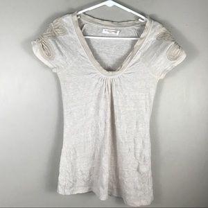Anthro Pilcro Letterpress crochet sleeve t shirt